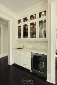 Burgundy white and natural wood transitional kitchen 08