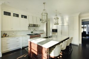 Burgundy white and natural wood transitional kitchen 09
