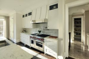 Burgundy white and natural wood transitional kitchen 10