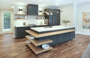 Clearview black painted cabinets with natural wood open shelves 01