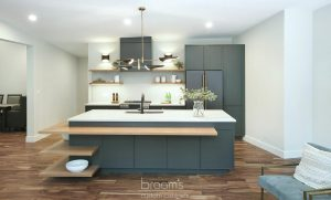 Clearview black painted cabinets with natural wood open shelves 02