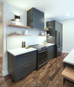 Clearview black painted cabinets with natural wood open shelves 03