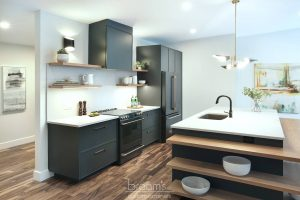 Clearview black painted cabinets with natural wood open shelves 04