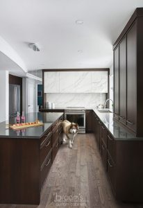 Dalkeith dark wood kitchen with custom porcelain hood 09