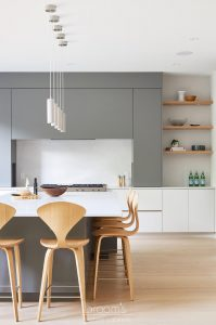 Fourth grey and natural wood custom kitchen 02