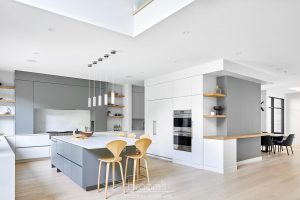 Fourth grey and natural wood custom kitchen 03