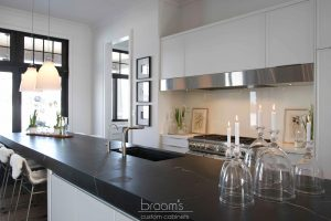 Heritage white painted custom cabinets with black countertop 02