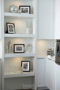 Heritage white painted custom cabinets with open shelves 01