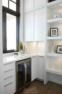 Heritage white painted custom cabinets with open shelves 02