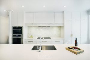 Hunt Club white painted custom kitchen with gold hardware 09