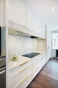 Hunt Club white painted custom kitchen with gold hardware 10