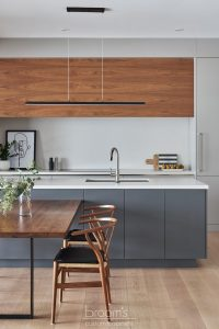 Lakeshore grey and natural wood modern kitchen 03