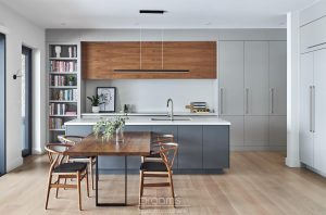 Lakeshore grey and natural wood modern kitchen 04