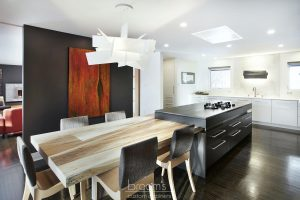 Parkway black and white custom kitchen with unqiue island 01