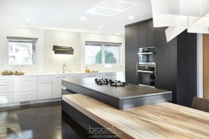 Parkway black and white custom kitchen with unqiue island 03
