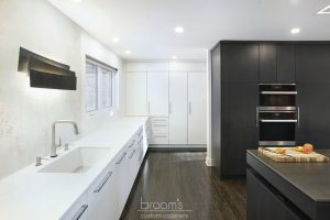 Parkway black and white custom kitchen with unqiue island 04