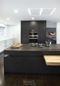 Parkway black and white custom kitchen with unqiue island 07