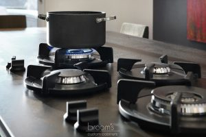 Parkway black and white custom kitchen with unqiue island 10