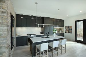 Princess black painted kitchen with exposed brick 01