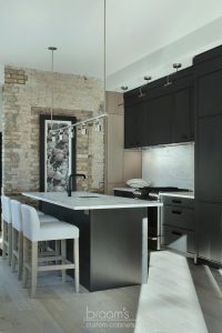 Princess black painted kitchen with exposed brick 02