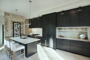 Princess black painted kitchen with exposed brick 03