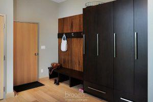 and beyond - black and wood custom mudroom 06