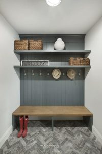 and beyond - grey and wood custom mudroom with bench 11