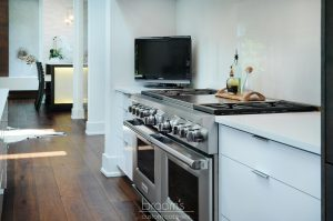 donessle white and black custom kitchen with steel accents 10