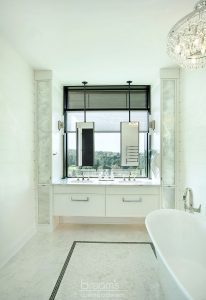 home spa custom white vanity with antique mirrors 14