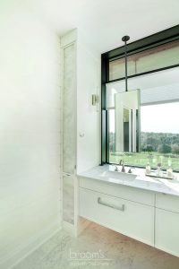 home spa custom white vanity with antique mirrors 15