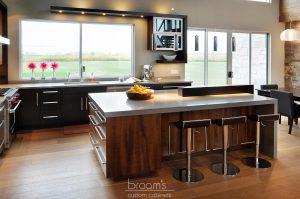 mcneil black and dark wood custom kitchen 02