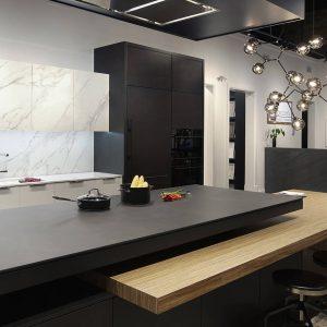 modern black kitchen custom cabinets