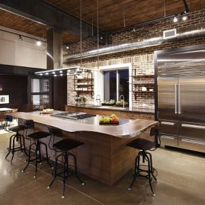 natural wood industrial kitchen custom cabinets
